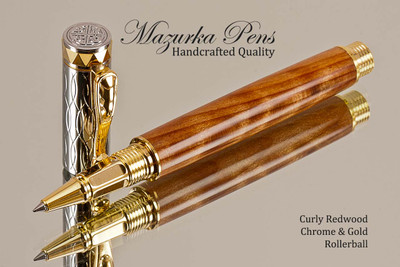 Hand Made Rollerball Pen made from Curly Redwood with Gold and Chrome finish.  Main view of pen and cap.