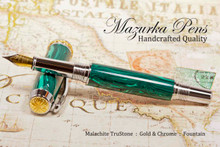Handmade Fountain Pen handcrafted from Malachite TruStone with Gold and Chrome finish.  Cap view of pen.