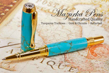 Handmade Rollerball Pen handcrafted from Turquoise TruStone with Gold and Chrome finish.  Cap view of pen.