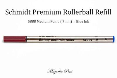 Schmidt 5888 Rollerball Refill, Blue Ink, Medium Point (.7mm), Ceramic
