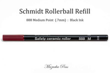 Schmidt 888 Safety Ceramic Roller Ball Refill, Black Ink, Medium Point