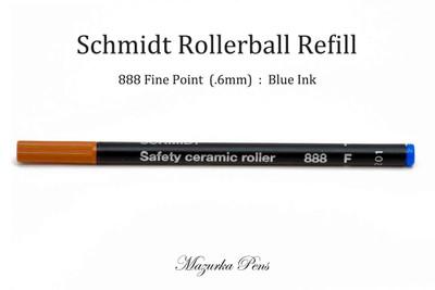 Schmidt 888 Rollerball Refill, Blue Ink, Fine Point