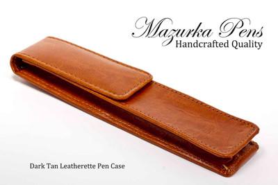 Dark Tan Leatherette Pen Case - Right Side