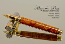 Hand Made Rollerball Pen made from Brown Mallee Burl with Gold and Chrome finish.  Tip view of pen and cap.