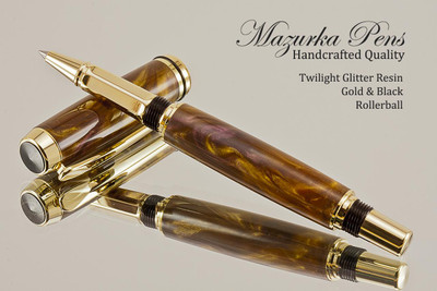 Handmade wood pen made from Twilight Glitter Resin with Gold / Black.  Handcrafted pen by our artist.  Top view of pen tip.