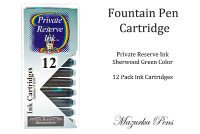 Fountain pen ink cartridges - Sherwood Green color, Pack of 12 cartridges