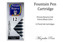 Fountain pen ink cartridges - Velvet Black color, Pack of 12 cartridges