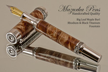 Handcrafted wood pen made from Big Leaf Maple Burl with Rhodium/Black Titanium finish.  Side view of pen and cap.