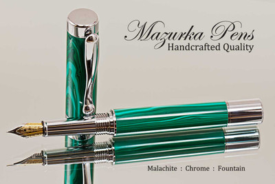 Handmade Fountain Pen handcrafted from Malachite TruStone with Chrome finish.  Nib view of pen.
