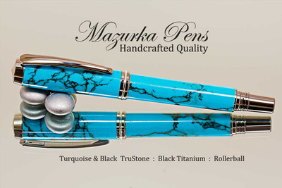 Handcrafted rollerball pen made from Turquoise TruStone with  Black Titanium finish.  Main view of pen cap.