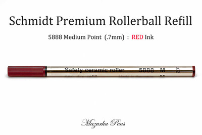 Schmidt 5888 Rollerball Refill, Medium Point (.7mm), Red Ink