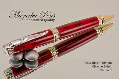 Handmade Ballpoint Pen handcrafted from Red and Black TruStone with Chrome/Gold finish.  Main view of pen.