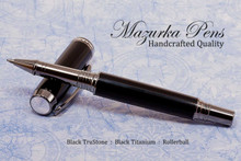 Handmade pen made from black TruStone.  Handcrafted pen by our artist.  Tip view of pen cap.