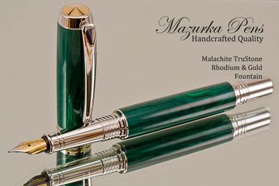 Handmade Fountain Pen from Malachite TruStone with Rhodium / Gold finish.  Bottom view of pen.