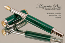 Handmade Fountain Pen from Malachite TruStone with Rhodium / Gold finish.  Side view of pen.