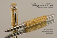 Handmade Rollerball Pen made from Buckeye Burl with Rhodium and Gold color trim.  Handcrafted pen by our artist.  Side view of pen cap.