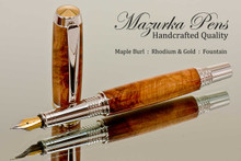 Handmade Fountain Pen handcrafted from Maple Burl wood Rhodium and Gold finish.  Cap view of pen.