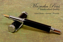 Handmade Fountain Pen handcrafted from Gabon Ebony wood with Chrome finish.  Nib view of pen.