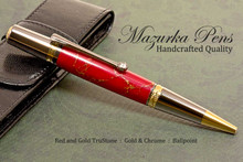 Handmade Ballpoint Pen, Red and Gold TruStone Pen, Black Titanium and Gold Finish - Looking from Side of Ballpoint Pen