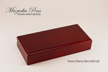 Cherry hinged Pen Box / Pen Case.  Felt lining.  Holds single large pen, shown closed