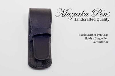 Black leather pen pouch / pen case.  Shown closed.