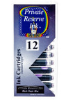 Private Reserve Fountain Pen Ink Cartridge - 12 Pack Ink Cartridge - Black Magic Blue