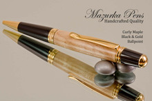 Handmade Ballpoint Pen, Curly Maple Pen, Black and Gold Finish - Looking from back of Ballpoint Pen
