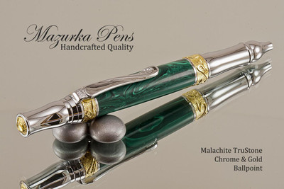 Handmade Ballpoint Pen, Malachite TruStone Pen, Gold and Chrome Finish - Looking from Top of Ballpoint Pen