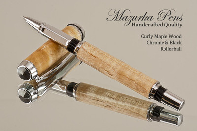 Handmade Curly Maple Rollerball Pen with Chrome finish  Handcrafted pen by our artist.  Main view of pen cap.