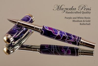Handmade Writing Instrument Purple & White Resin Rhodium/Gold Finish - Front View