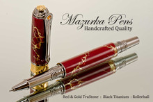 Handmade Rollerball Pen Handcrafted from Red and Gold TruStone with Black Titanium and Gold finish.  Cap view of pen and cap.