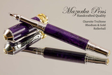Handmade Rollerball Pen Handcrafted from Charoite TruStone with Rhodium and Gold finish.  Front view of pen and cap.