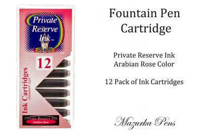 Fountain pen ink cartridges - Arabian Rose color, Pack of 12 cartridges