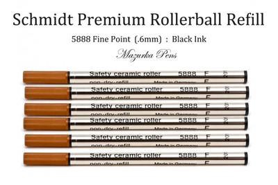 Schmidt Rollerball Refill - Fine Tip (.6mm), Black Ink, fits most rollerball pens - 6 PACK