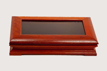 Rosewood Glass Top Hinged Pen Display Box Case - Single Pen
