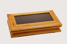 Bamboo Glass Top Hinged Pen Display Box Case - Single Pen