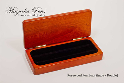 Premium rosewood display case with brass hinges, single or double pen inserts (pens not included, shown open)