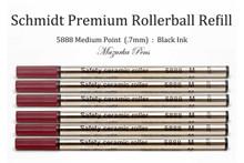 Schmidt 5888 Safety Ceramic Rollerball Refill, Medium Point (.7mm), Black Ink - 6 Pack