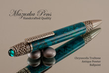 Handmade Ballpoint Pen, Celtic Chrysocolla TruStone Pen, Antique Pewter