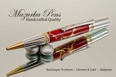 Handmade Ballpoint Pen, Red Jasper and Gold TruStone Pen, Chrome and Gold Finish - Looking from tip of Ballpoint Pen