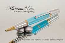 Ballpoint Pen Handmade from Turquoise TruStone with Chrome and Gold Finish - Tip View