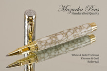 Hand Turned Rollerball Pen made from White and Gold TruStone with Gold and Chrome finish.  Main view of pen and cap.