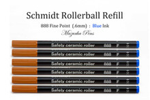 Six (6) pack of Schmidt 888 Rollerball Refill, Blue Ink, Fine Point