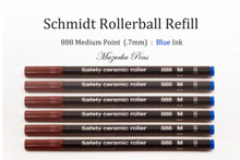 6 Pack of Schmidt 888 Safety Ceramic Rollerball Refills - Blue Ink Medium Tip
