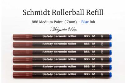 6 Pack of Schmidt 888 Safety Ceramic Rollerball Refills - Blue Ink Medium Tip
