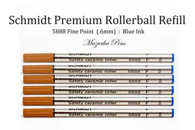 Schmidt 5888 Rollerball Refill, Blue Ink, Fine Point (.6mm), Ceramic Point