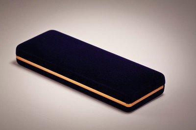 Blue velvet pen or pencil case with gold trim, blue velvet interior, show open