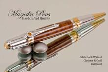 Handmade Ballpoint Pen, Fiddleback Walnut Chrome and Gold Finish - Top view of Ballpoint Pen