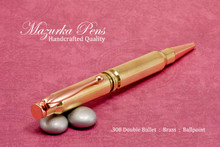 Handmade Double 308 Caliber Ballpoint Bullet Cartridge Pen, Brass Finish - Looking from Top of Pen (stock photo)
