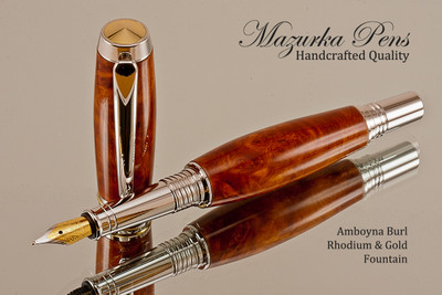 Handmade Rollerball Pen made from Amboyna Burl with Rhodium and Gold trim.  Handcrafted pen by our artist.  Tip view of pen cap.